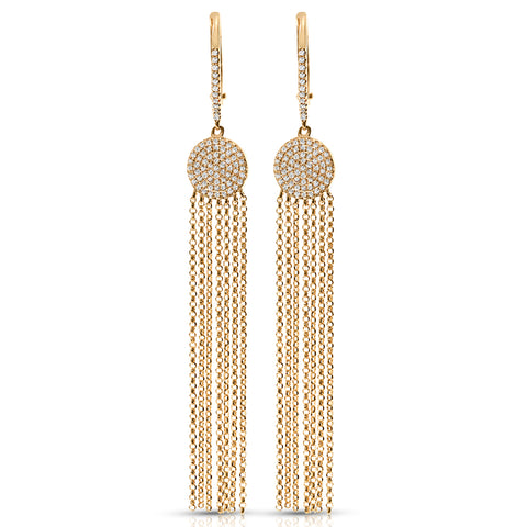 Diamond Cluster Earrings with Waterfall Chains