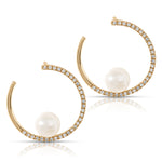Diamond and Pearl C shaped Earrings