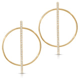 Intersecting Circle and Diamond Bar Earrings