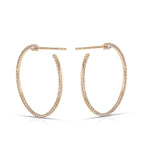 Diamond and Gold Open Circle Earrings