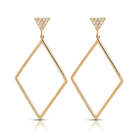 Triangle Stud Drop Diamond Earrings