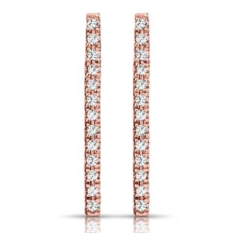 Diamond Bar Earrings in Pink Gold