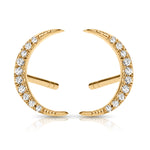 Mini Crescent Diamond and Gold Stud Earrings