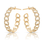 Diamond studded Cuba Chain Hoops
