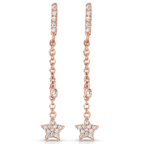 Twinkling Star Diamond and Yellow Gold Danglers