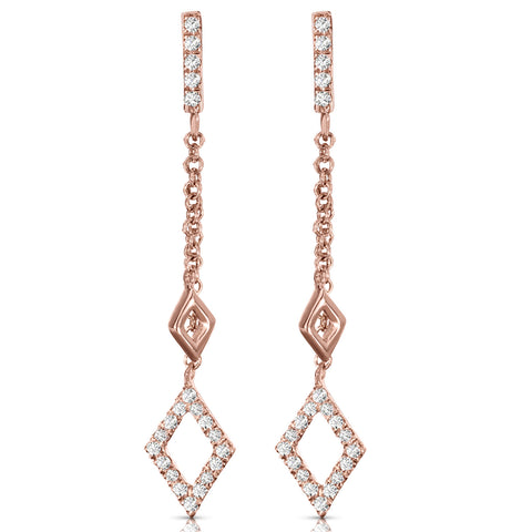 Chain Stud Diamond Drop Earrings