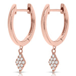Pink Gold Mini Hoop Earrings with Dangling Diamonds