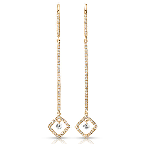 Diamond Bar Cushion Drop Earrings