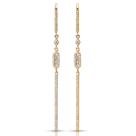 Diamond & Gold Geometric Dangle Earrings