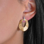 Diamond and Pink Gold Textured Earrings