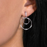 Diamond Dangle Double Hoop Earrings