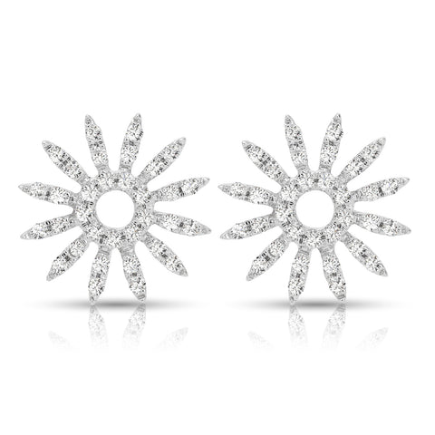 Sunburst Diamond Stud White Gold Earrings