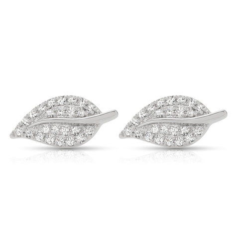 Diamond Studded White Gold Leaf Earrings