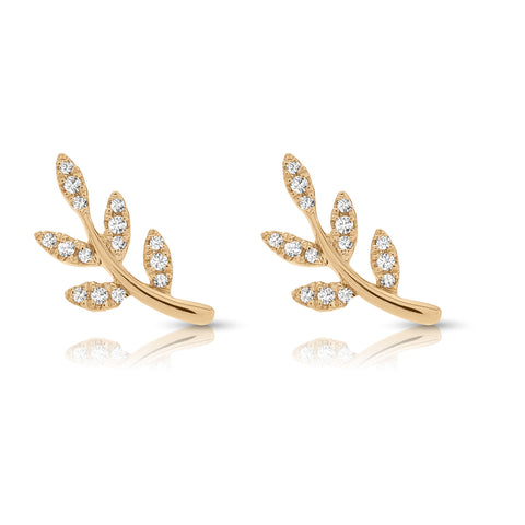 Olive branch Earrings with Diamonds and Yellow Gold