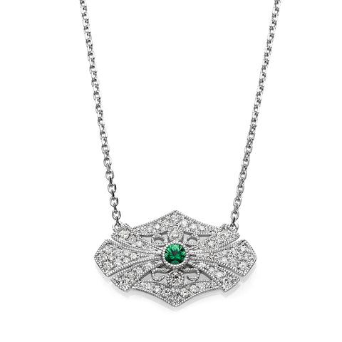 Emerald & Diamond Vintage Necklace
