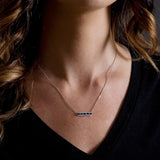 Diamond & Blue Sapphire Bar Necklace