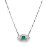 Square Emerald & Diamond Vintage Necklace