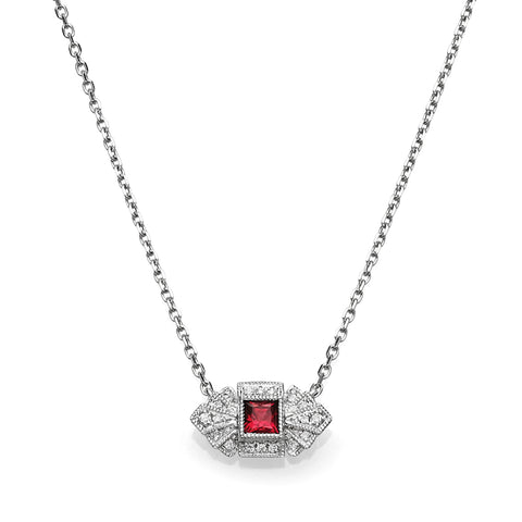 Square Diamond & Ruby Vintage Necklace