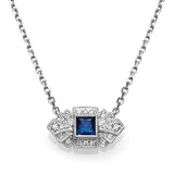 Square Blue Sapphire & Diamond Vintage Necklace