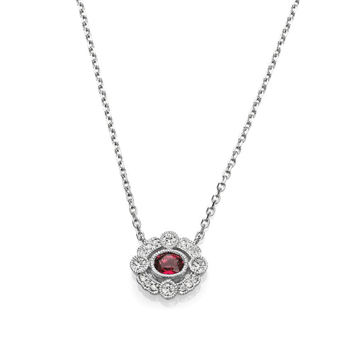 Round Ruby & Diamond Vintage Necklace