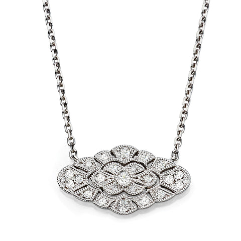 White Gold and Diamond Vintage Pendant Necklace