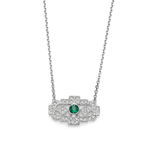 Vintage Diamond & Emerald Necklace
