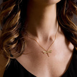 Yellow Gold & Diamond Italian Inspired Dragonfly Necklace