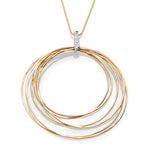 Yellow Gold & Diamond Italian Inspired Hoop Necklace