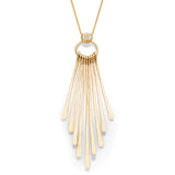 Yellow Gold & Diamond Accent Hanging Rods Necklace