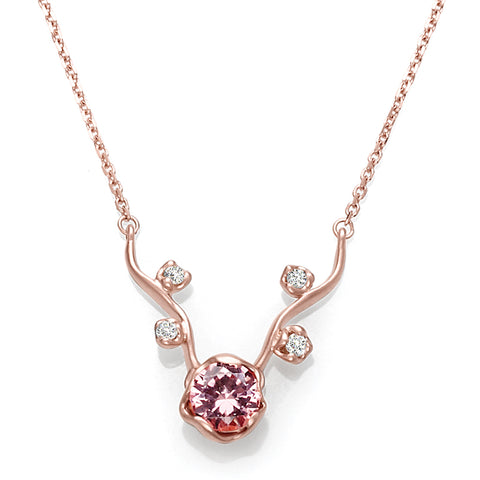 Pink Tourmaline and Diamond Necklace in Rose Gold