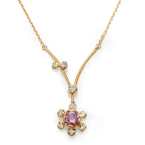 Diamond & Pink Garnet Flower Pendant