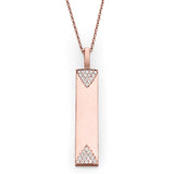 Rose Gold & Diamond Vertical Bar Necklace