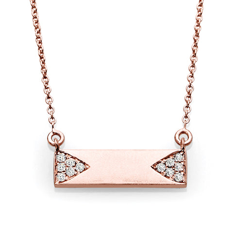 Rose Gold & Diamond Horizontal Bar Necklace