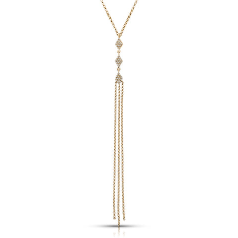 Diamond Studded Gold Tassel Pendant on Rolo Chain