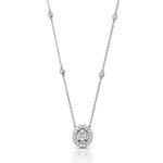 Oval Diamond Pendant with Scalloped Halo and Chain