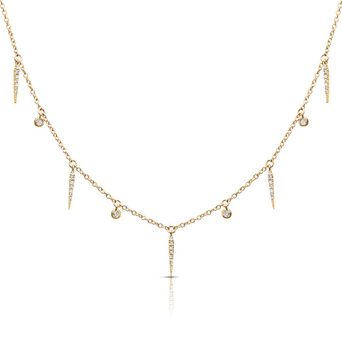 Diamond studded Drops and Spikes Necklace