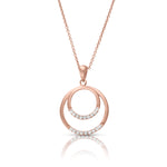Concentric Diamond and Pink Gold Circle Pendant