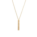 Matte Finish Hammered Diamond Bar Pendant Necklace