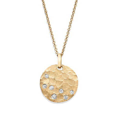 Matte Finish Hammered Disc Pendant with Diamonds