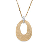 Textured Oval Gold and Diamond Pendant
