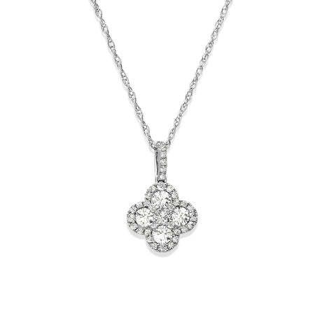 Clover Leaf Diamond Halo Pendant with Chain