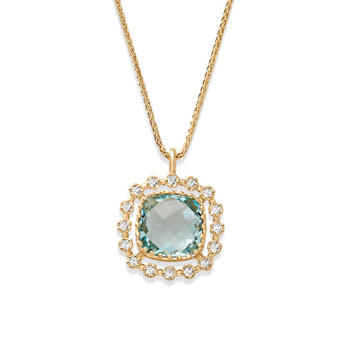 Blue Topaz and Diamond Halo Pendant Necklace