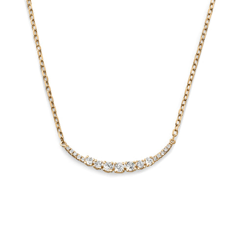 Graduating Arc Diamond Yellow Gold Necklace
