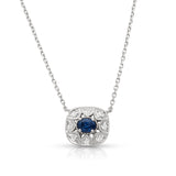 Vintage inspired Sapphire and Diamond Pendant Necklace