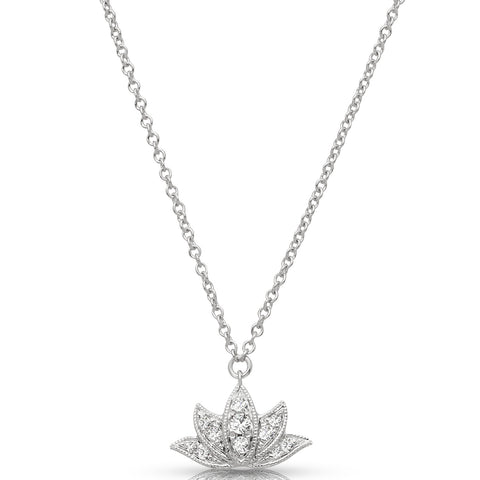 Diamond Lotus Flower Pendant