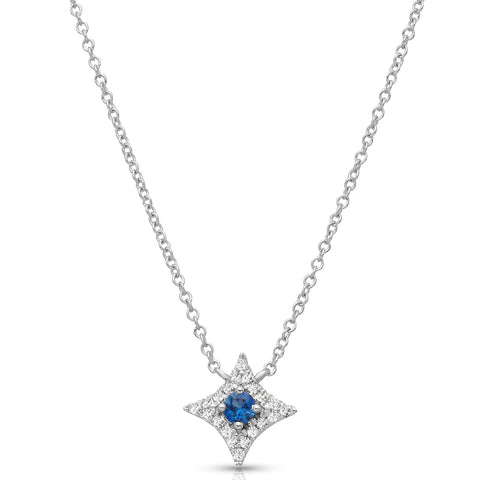 Sapphire and Diamond Halo Pendant with Chain