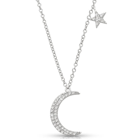 Diamond Studded Moon and Star Necklace