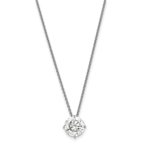 1.00 carat, 6.5MM 4-prong Round Moissanite Solitaire Slide Necklace in White Gold