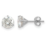 3-prong Moissanite Martini Stud Earrings (in White or Yellow Gold)