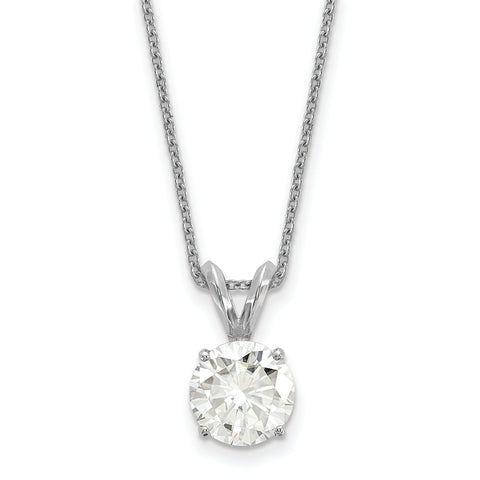 1.50 carat, 7.5MM Classic 4-prong Round Moissanite Solitaire Necklace in White Gold